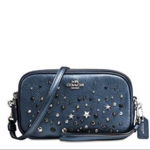 d1485141d6d2a Coach Bags | Crossbody Clutch Metallic Blue Star Rivets | Poshmark